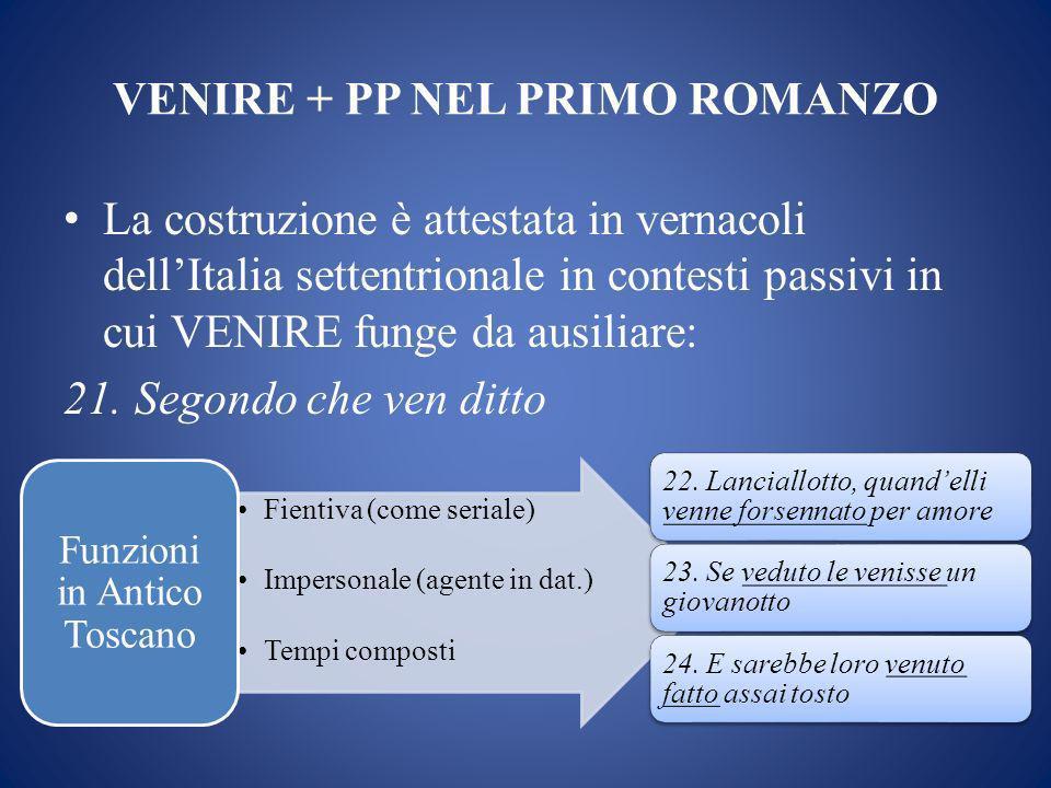 VENIRE + PP NEL PRIMO ROMANZO La costruzione è attestata in vernacoli dellItalia settentrionale in contesti passivi in cui VENIRE funge da ausiliare: 21.