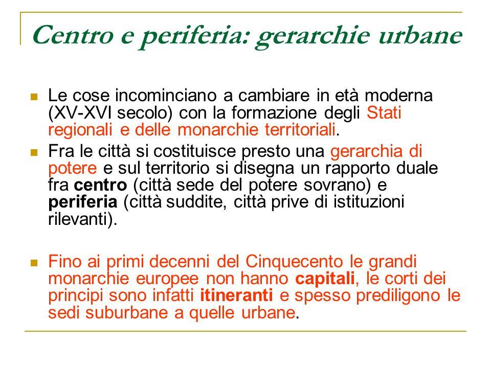 Centro e periferia: gerarchie urbane Le cose incominciano a cambiare in età moderna (XV-XVI secolo) con la formazione degli Stati regionali e delle mo