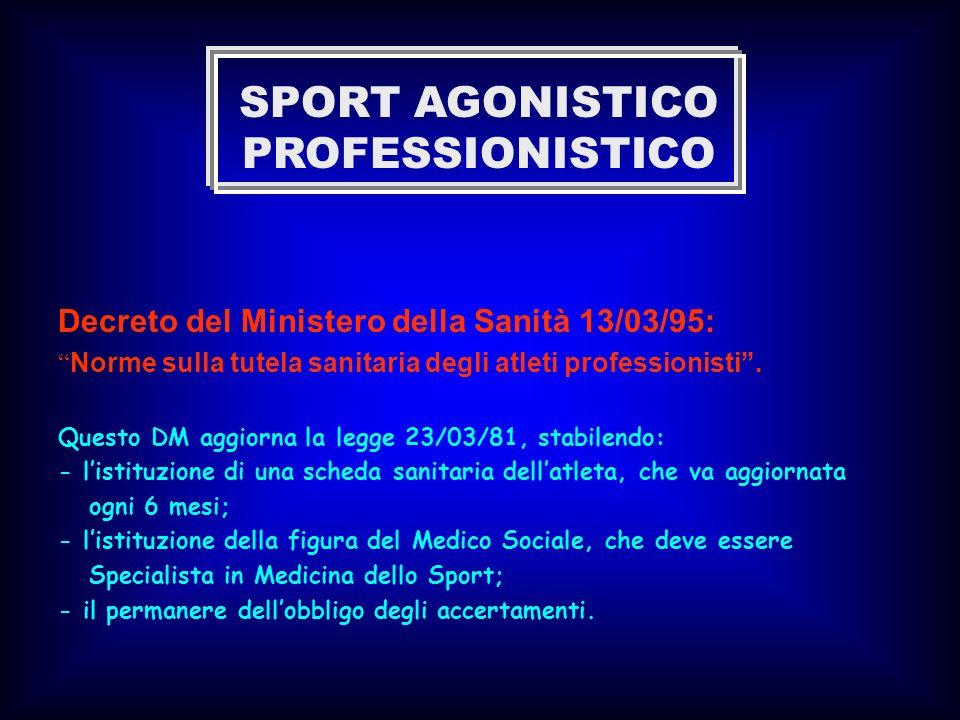 Decreto del Ministero della Sanità 13/03/95: Norme sulla tutela sanitaria degli atleti professionisti. Questo DM aggiorna la legge 23/03/81, stabilend