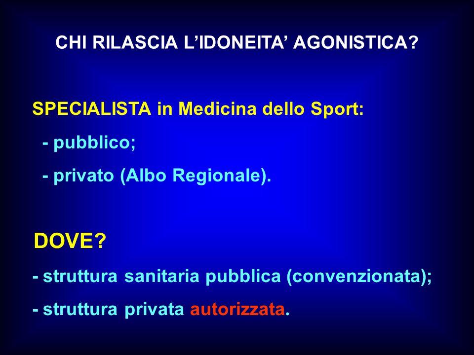CHI RILASCIA LIDONEITA AGONISTICA? SPECIALISTA in Medicina dello Sport: - pubblico; - privato (Albo Regionale). DOVE? - struttura sanitaria pubblica (