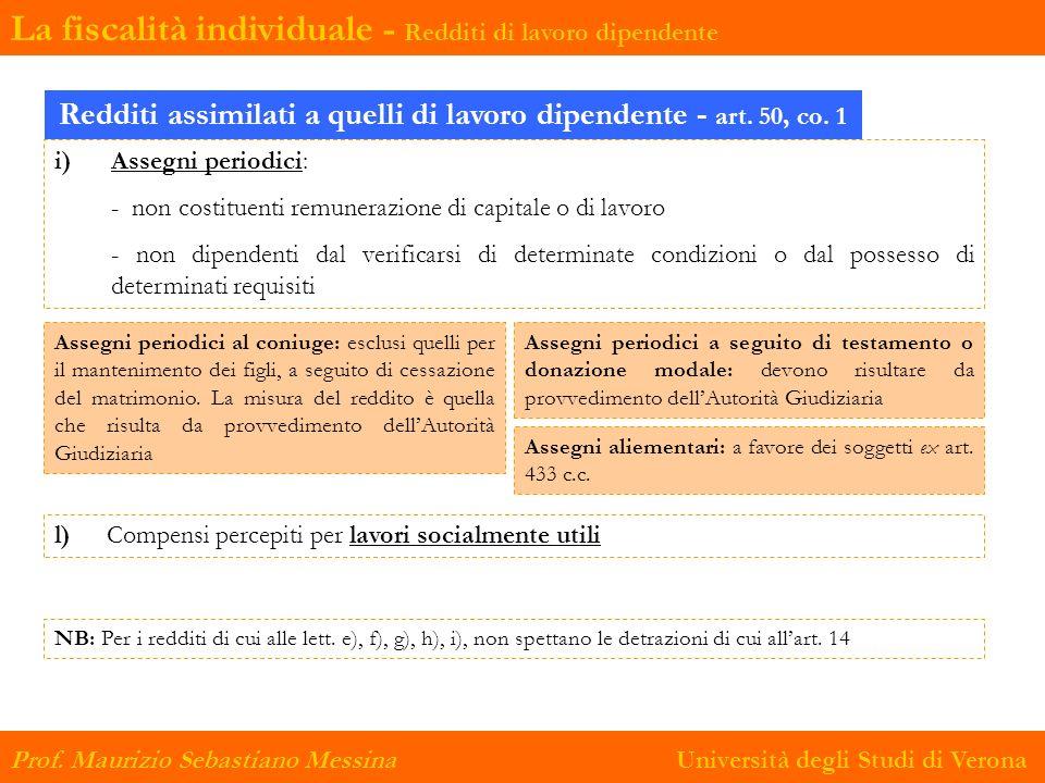 La fiscalità individuale - Redditi di lavoro dipendente Prof. Maurizio Sebastiano Messina Università degli Studi di Verona Redditi assimilati a quelli
