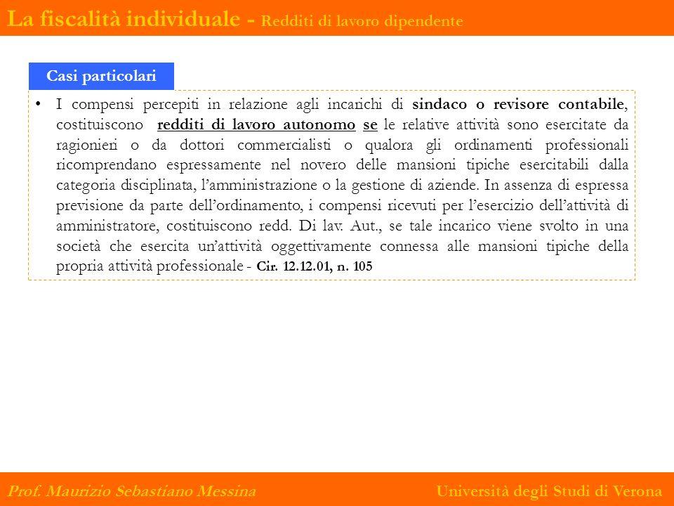 La fiscalità individuale - Redditi di lavoro dipendente Prof. Maurizio Sebastiano Messina Università degli Studi di Verona I compensi percepiti in rel