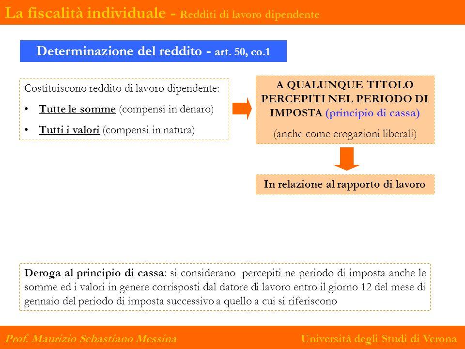 Determinazione del reddito - art. 50, co.1 Costituiscono reddito di lavoro dipendente: Tutte le somme (compensi in denaro) Tutti i valori (compensi in