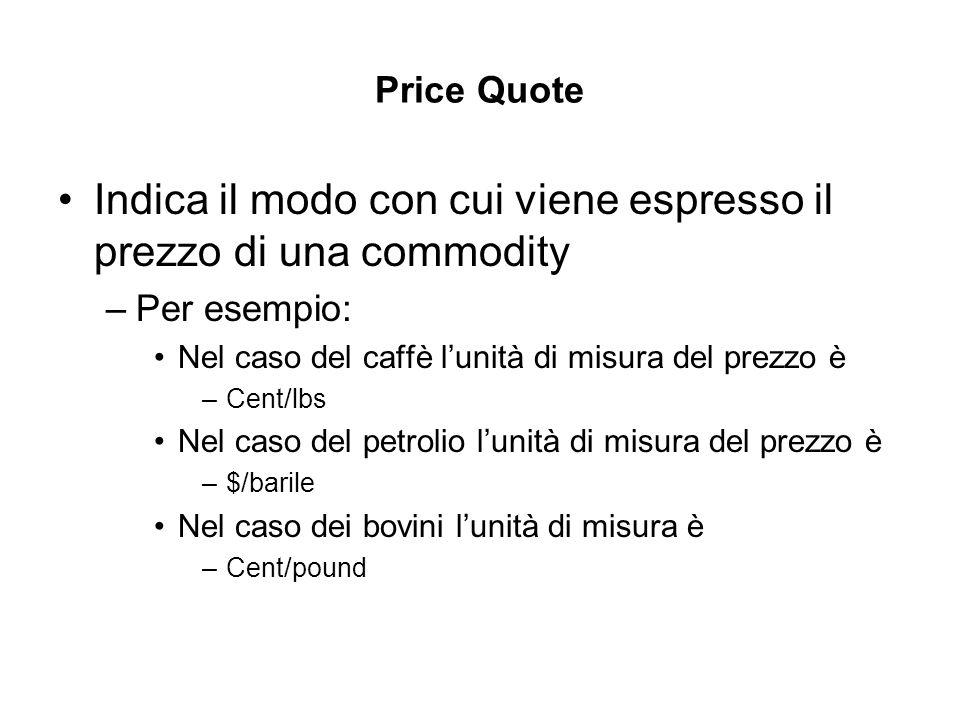 Price Quote Indica il modo con cui viene espresso il prezzo di una commodity –Per esempio: Nel caso del caffè lunità di misura del prezzo è –Cent/lbs Nel caso del petrolio lunità di misura del prezzo è –$/barile Nel caso dei bovini lunità di misura è –Cent/pound