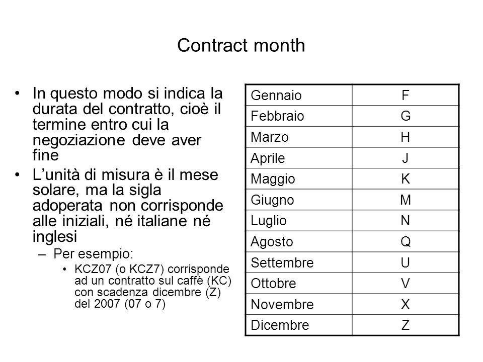 Contract month In questo modo si indica la durata del contratto, cioè il termine entro cui la negoziazione deve aver fine Lunità di misura è il mese solare, ma la sigla adoperata non corrisponde alle iniziali, né italiane né inglesi –Per esempio: KCZ07 (o KCZ7) corrisponde ad un contratto sul caffè (KC) con scadenza dicembre (Z) del 2007 (07 o 7) GennaioF FebbraioG MarzoH AprileJ MaggioK GiugnoM LuglioN AgostoQ SettembreU OttobreV NovembreX DicembreZ