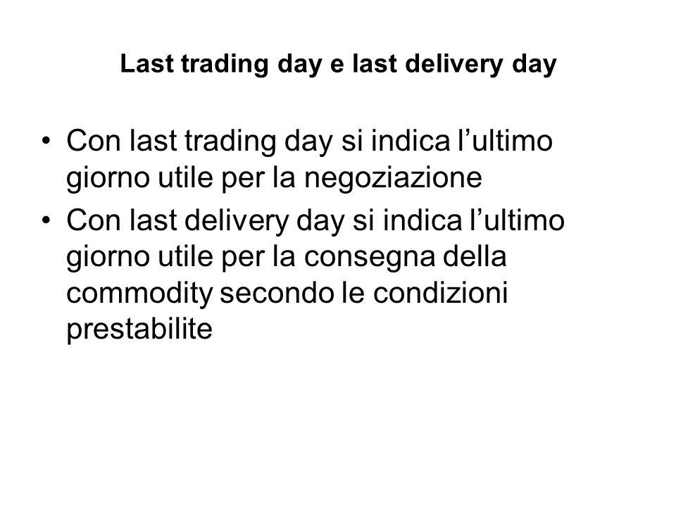 Last trading day e last delivery day Con last trading day si indica lultimo giorno utile per la negoziazione Con last delivery day si indica lultimo giorno utile per la consegna della commodity secondo le condizioni prestabilite