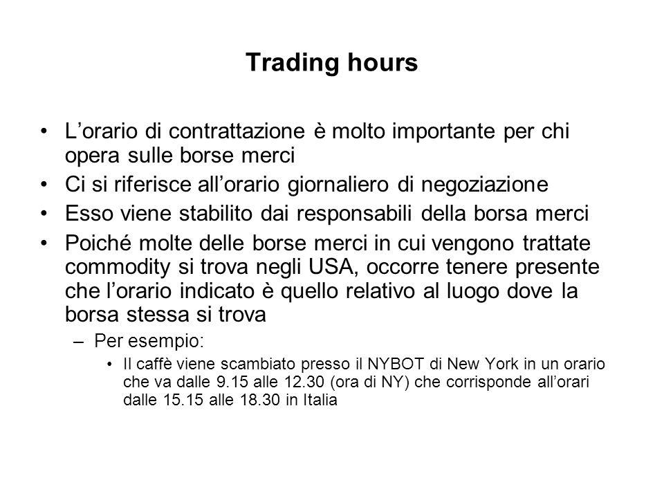 Trading hours Lorario di contrattazione è molto importante per chi opera sulle borse merci Ci si riferisce allorario giornaliero di negoziazione Esso