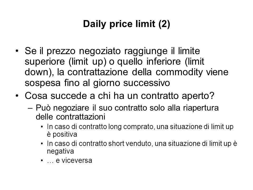 Daily price limit (2) Se il prezzo negoziato raggiunge il limite superiore (limit up) o quello inferiore (limit down), la contrattazione della commodity viene sospesa fino al giorno successivo Cosa succede a chi ha un contratto aperto.