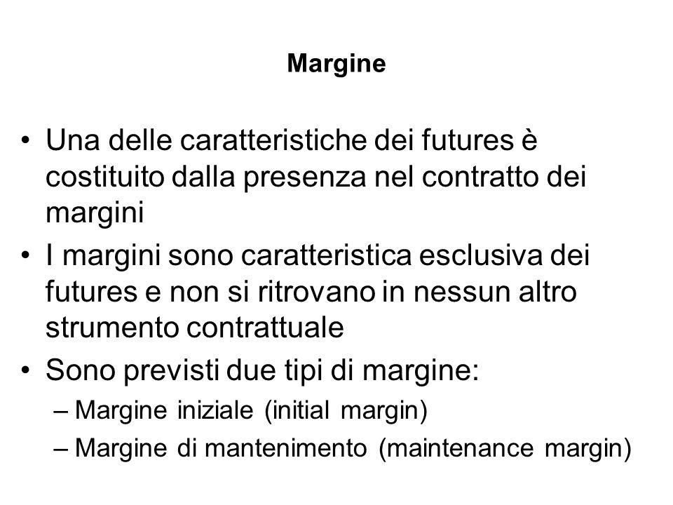 Margine Una delle caratteristiche dei futures è costituito dalla presenza nel contratto dei margini I margini sono caratteristica esclusiva dei future