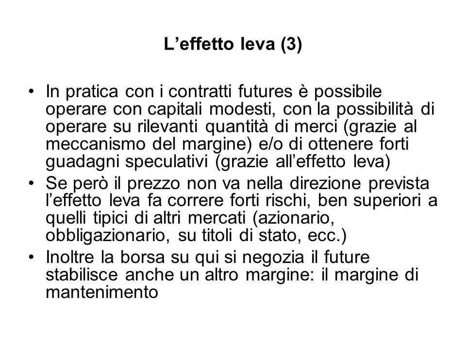 Leffetto leva (3) In pratica con i contratti futures è possibile operare con capitali modesti, con la possibilità di operare su rilevanti quantità di