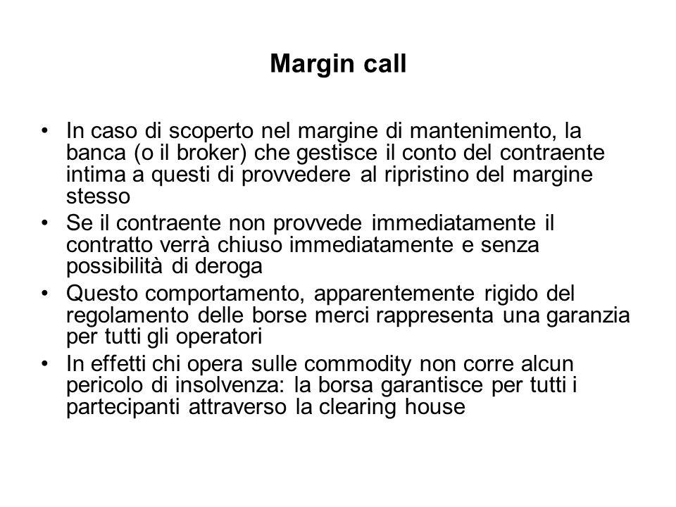 Margin call In caso di scoperto nel margine di mantenimento, la banca (o il broker) che gestisce il conto del contraente intima a questi di provvedere