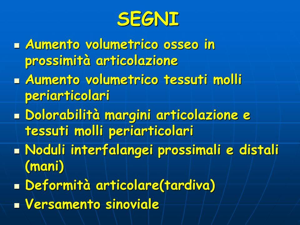 SEGNI Aumento volumetrico osseo in prossimità articolazione Aumento volumetrico osseo in prossimità articolazione Aumento volumetrico tessuti molli pe