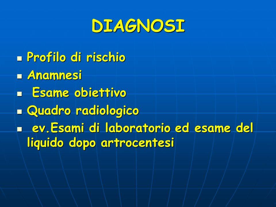 DIAGNOSI Profilo di rischio Profilo di rischio Anamnesi Anamnesi Esame obiettivo Esame obiettivo Quadro radiologico Quadro radiologico ev.Esami di lab