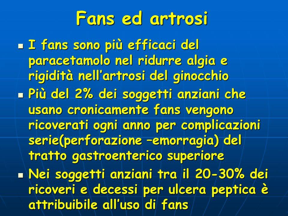 Fans ed artrosi I fans sono più efficaci del paracetamolo nel ridurre algia e rigidità nellartrosi del ginocchio I fans sono più efficaci del paraceta