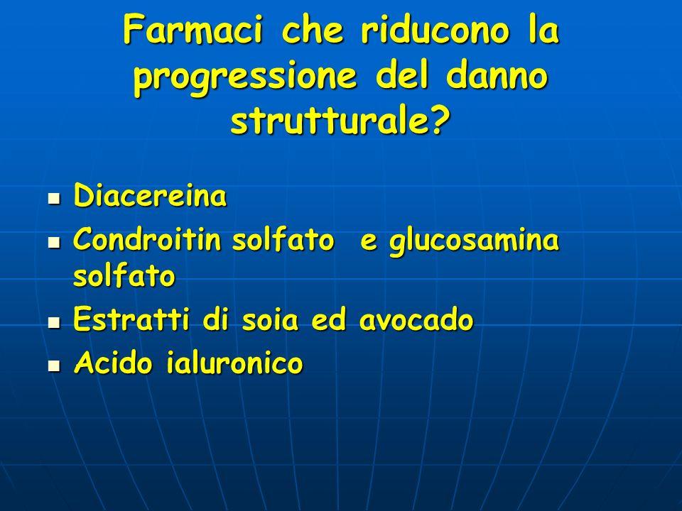 Farmaci che riducono la progressione del danno strutturale? Diacereina Diacereina Condroitin solfato e glucosamina solfato Condroitin solfato e glucos