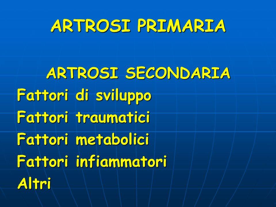 ARTROSI PRIMARIA ARTROSI SECONDARIA ARTROSI SECONDARIA Fattori di sviluppo Fattori traumatici Fattori metabolici Fattori infiammatori Altri
