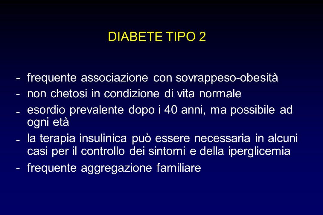 DIABETE TIPO 2 - frequente associazione con sovrappeso-obesità -non chetosi in condizione di vita normale - esordio prevalente dopo i 40 anni, ma poss