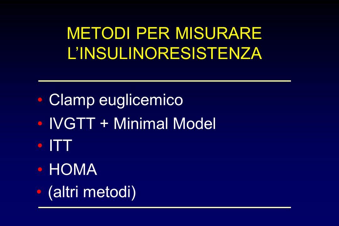 METODI PER MISURARE LINSULINORESISTENZA Clamp euglicemico IVGTT + Minimal Model ITT HOMA (altri metodi)