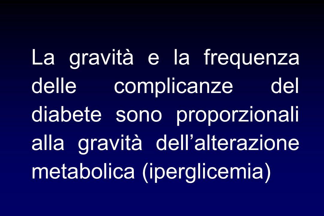 La gravità e la frequenza delle complicanze del diabete sono proporzionali alla gravità dellalterazione metabolica (iperglicemia)