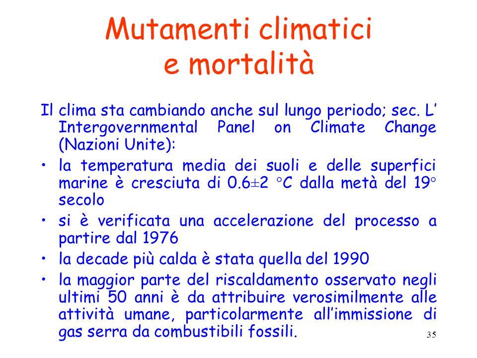 35 Mutamenti climatici e mortalità Il clima sta cambiando anche sul lungo periodo; sec. L Intergovernmental Panel on Climate Change (Nazioni Unite): l