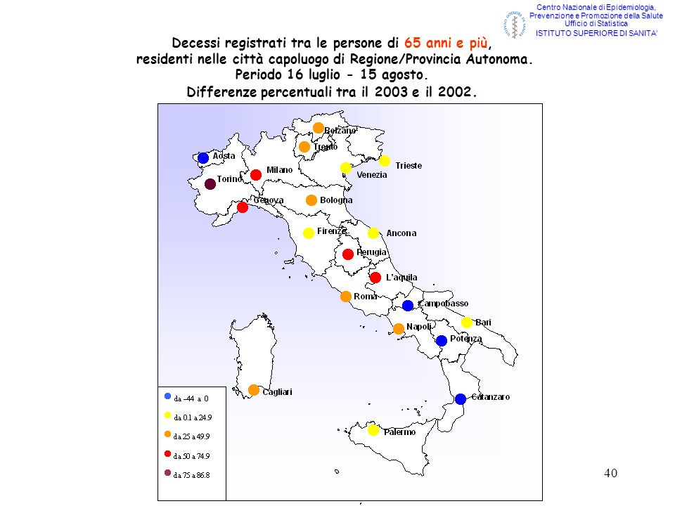 40 Decessi registrati tra le persone di 65 anni e più, residenti nelle città capoluogo di Regione/Provincia Autonoma. Periodo 16 luglio - 15 agosto. D