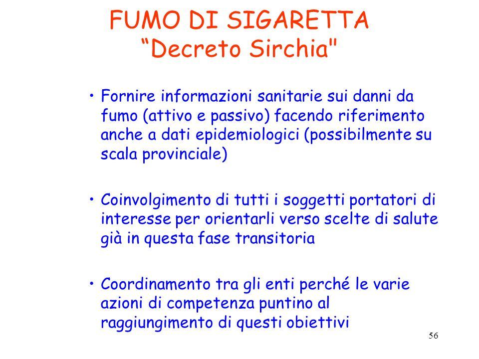 56 FUMO DI SIGARETTA Decreto Sirchia