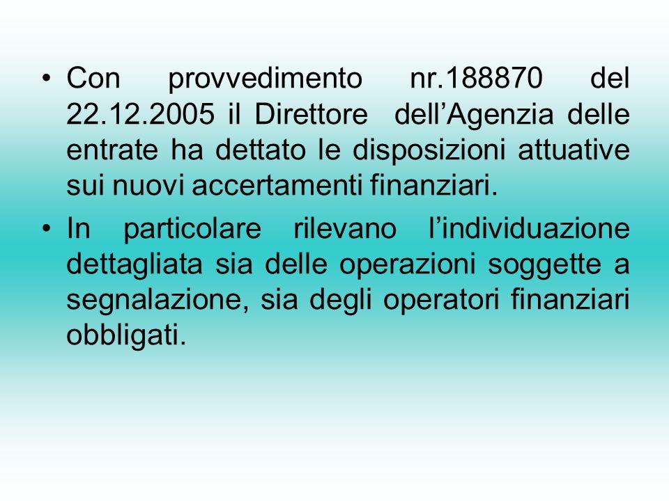 Con provvedimento nr.188870 del 22.12.2005 il Direttore dellAgenzia delle entrate ha dettato le disposizioni attuative sui nuovi accertamenti finanziari.