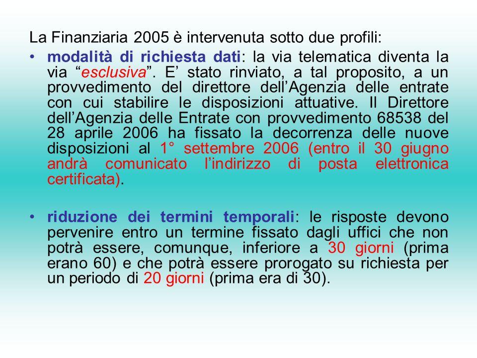 La Finanziaria 2005 è intervenuta sotto due profili: modalità di richiesta dati: la via telematica diventa la via esclusiva.
