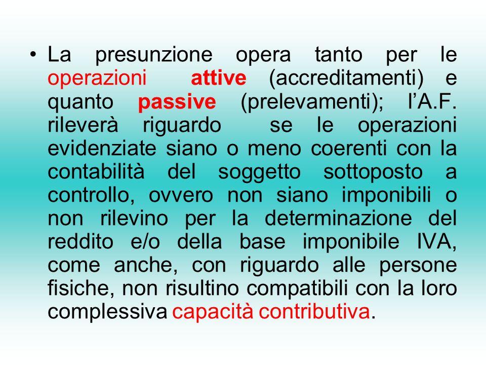La presunzione opera tanto per le operazioni attive (accreditamenti) e quanto passive (prelevamenti); lA.F.