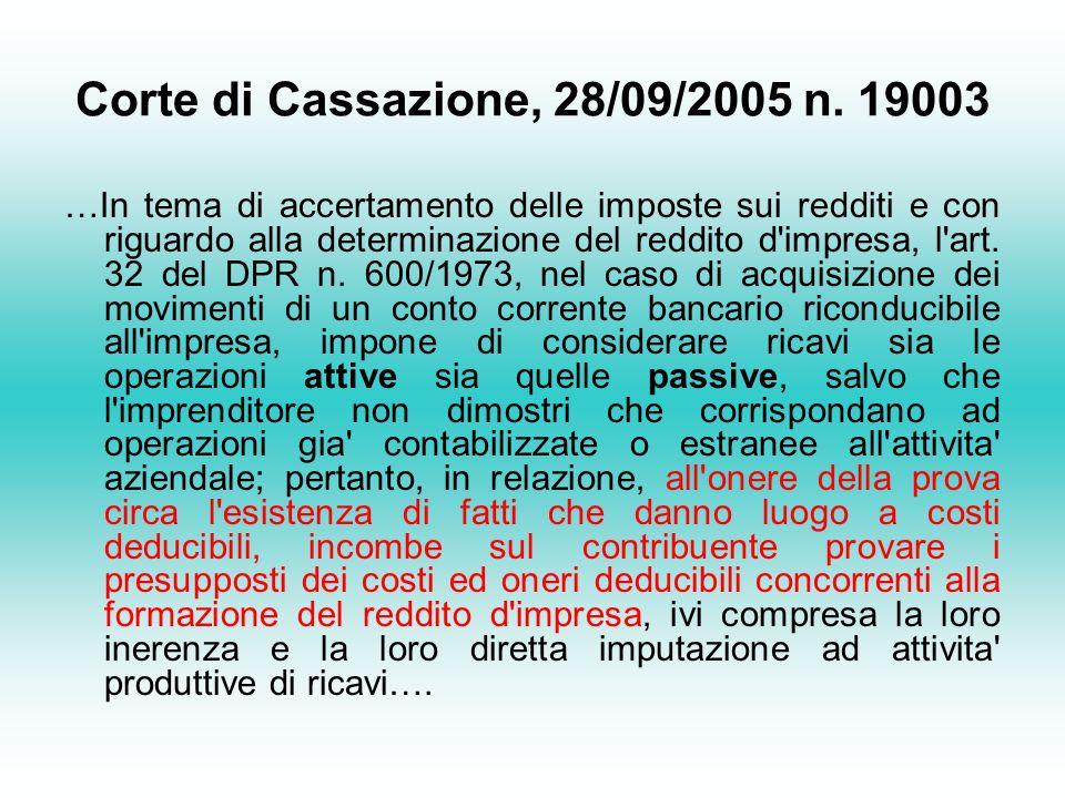 Corte di Cassazione, 28/09/2005 n.