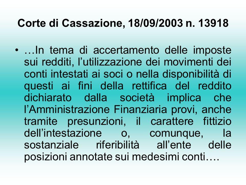 Corte di Cassazione, 18/09/2003 n.