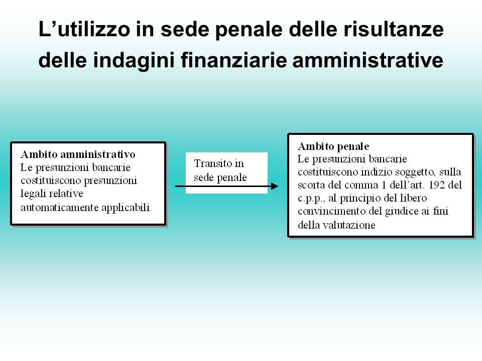 Lutilizzo in sede penale delle risultanze delle indagini finanziarie amministrative