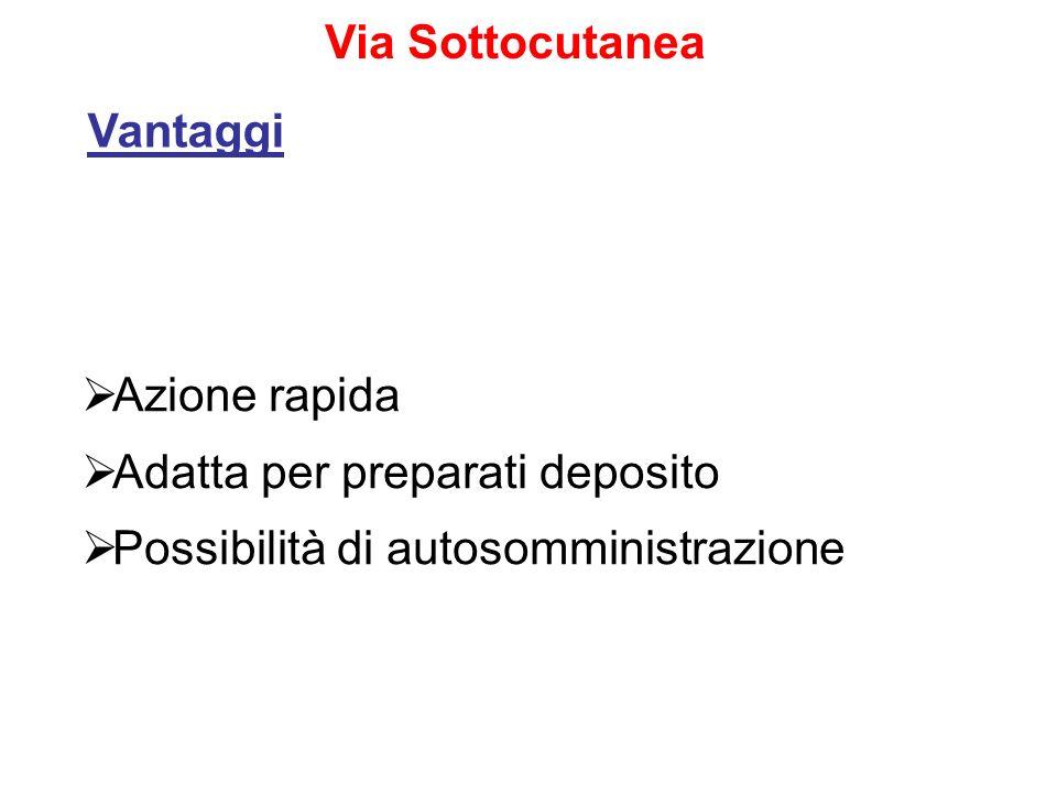 Azione rapida Adatta per preparati deposito Possibilità di autosomministrazione Via Sottocutanea Vantaggi