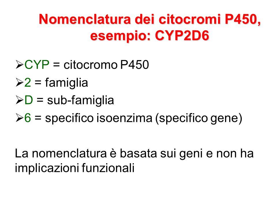 Nomenclatura dei citocromi P450, esempio: CYP2D6 CYP = citocromo P450 2 = famiglia D = sub-famiglia 6 = specifico isoenzima (specifico gene) La nomenc