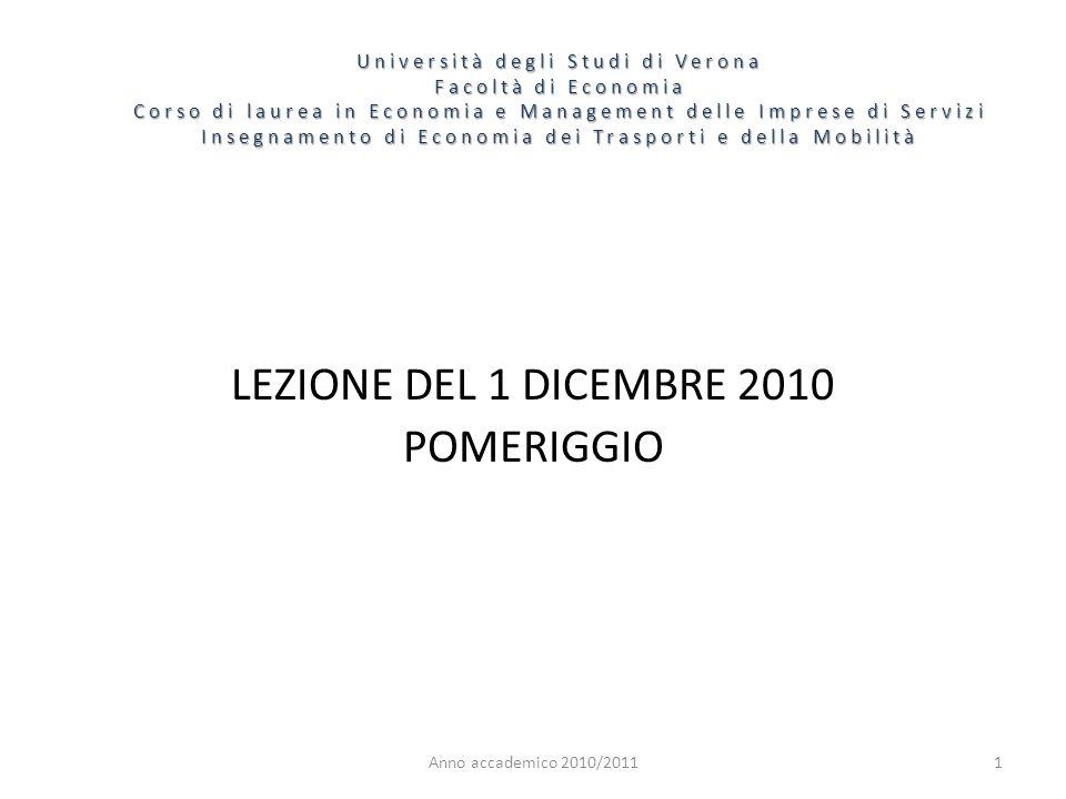 1 Università degli Studi di Verona Facoltà di Economia Corso di laurea in Economia e Management delle Imprese di Servizi Insegnamento di Economia dei Trasporti e della Mobilità Anno accademico 2010/2011 LEZIONE DEL 1 DICEMBRE 2010 POMERIGGIO