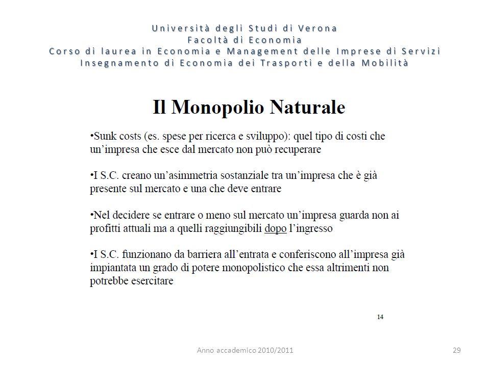 29 Università degli Studi di Verona Facoltà di Economia Corso di laurea in Economia e Management delle Imprese di Servizi Insegnamento di Economia dei Trasporti e della Mobilità Anno accademico 2010/2011