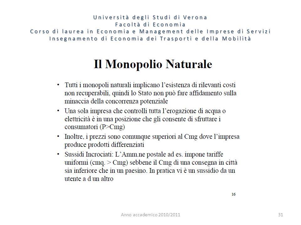 31 Università degli Studi di Verona Facoltà di Economia Corso di laurea in Economia e Management delle Imprese di Servizi Insegnamento di Economia dei Trasporti e della Mobilità Anno accademico 2010/2011