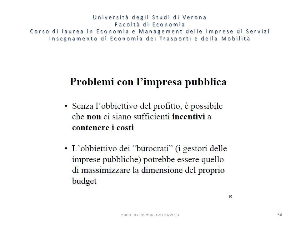 34 Università degli Studi di Verona Facoltà di Economia Corso di laurea in Economia e Management delle Imprese di Servizi Insegnamento di Economia dei Trasporti e della Mobilità Anno accademico 2010/2011