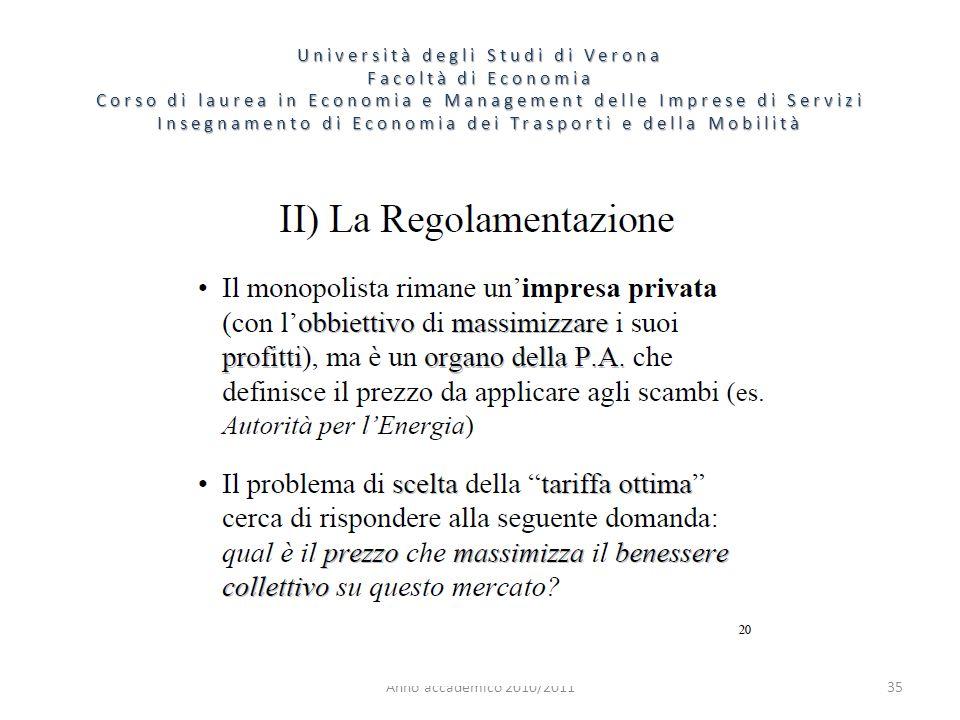 35 Università degli Studi di Verona Facoltà di Economia Corso di laurea in Economia e Management delle Imprese di Servizi Insegnamento di Economia dei Trasporti e della Mobilità Anno accademico 2010/2011