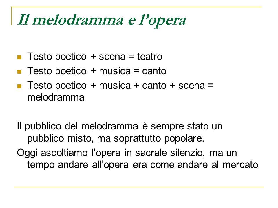 Il melodramma e lopera Testo poetico + scena = teatro Testo poetico + musica = canto Testo poetico + musica + canto + scena = melodramma Il pubblico d