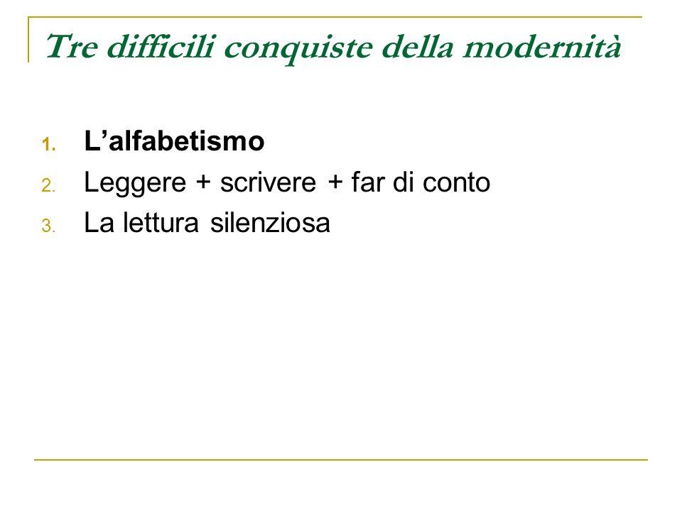 Tre difficili conquiste della modernità 1. Lalfabetismo 2. Leggere + scrivere + far di conto 3. La lettura silenziosa