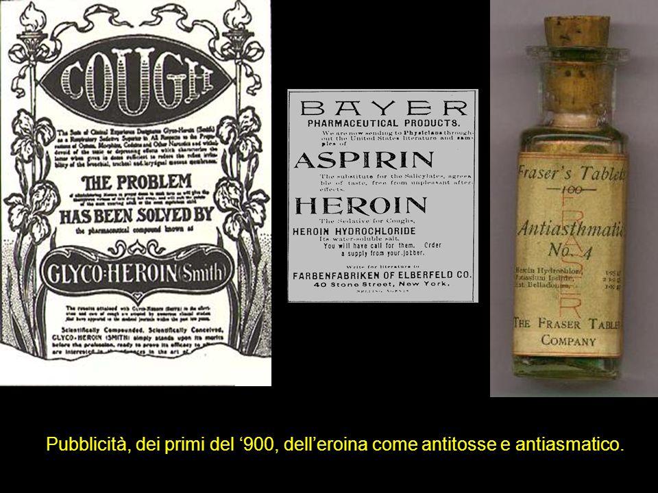 Pubblicità, dei primi del 900, delleroina come antitosse e antiasmatico.
