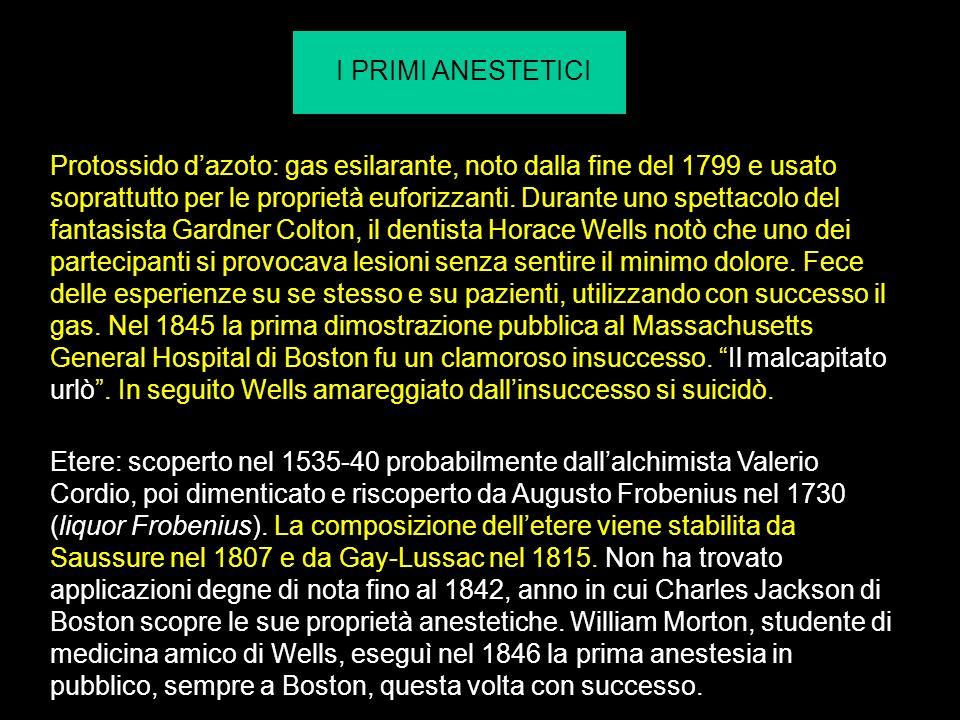 Etere: scoperto nel 1535-40 probabilmente dallalchimista Valerio Cordio, poi dimenticato e riscoperto da Augusto Frobenius nel 1730 (liquor Frobenius).