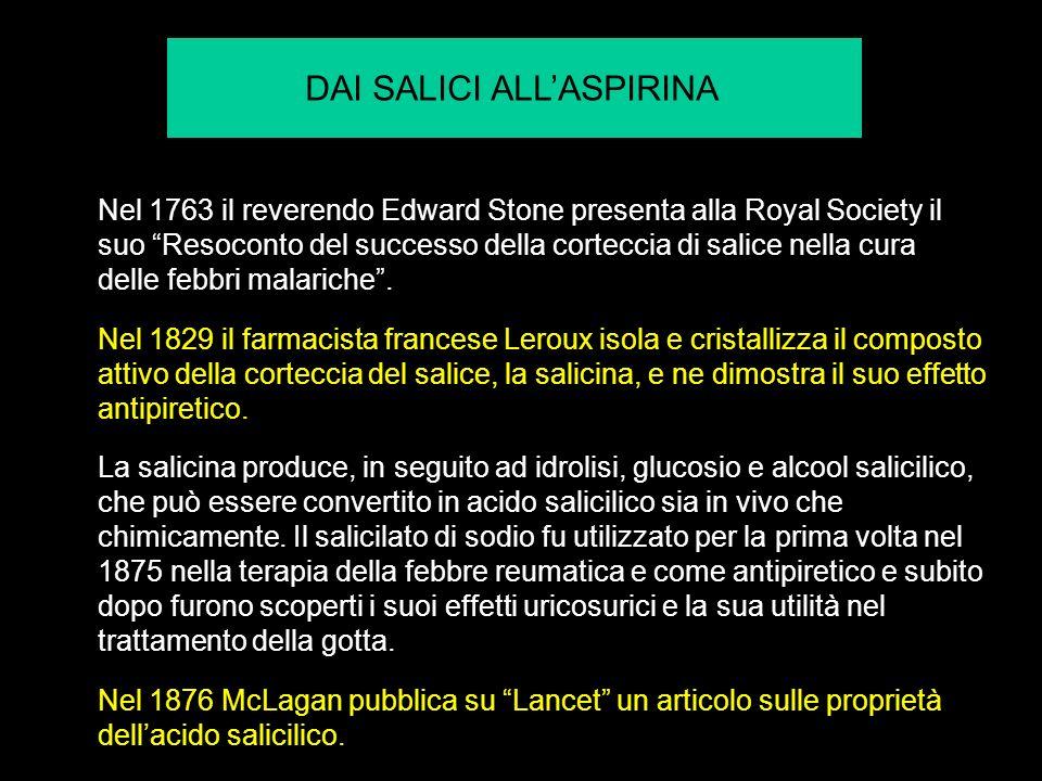 Nel 1763 il reverendo Edward Stone presenta alla Royal Society il suo Resoconto del successo della corteccia di salice nella cura delle febbri malariche.