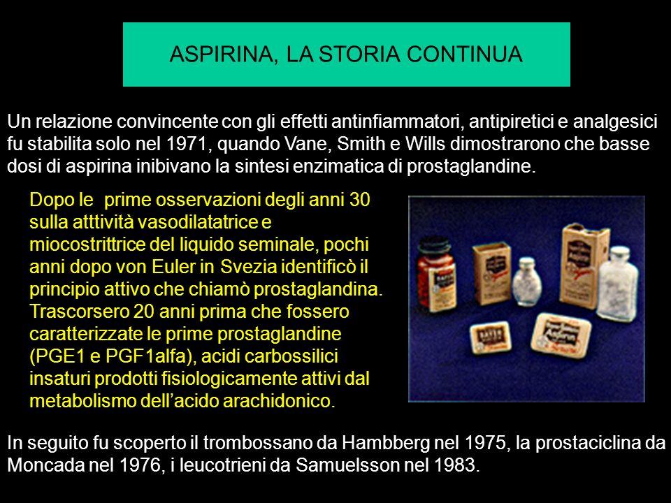 ASPIRINA, LA STORIA CONTINUA Un relazione convincente con gli effetti antinfiammatori, antipiretici e analgesici fu stabilita solo nel 1971, quando Vane, Smith e Wills dimostrarono che basse dosi di aspirina inibivano la sintesi enzimatica di prostaglandine.