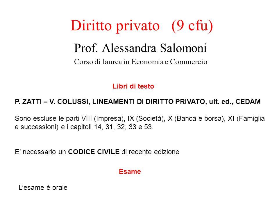 Diritto privato (9 cfu) Prof. Alessandra Salomoni Corso di laurea in Economia e Commercio Libri di testo P. ZATTI – V. COLUSSI, LINEAMENTI DI DIRITTO