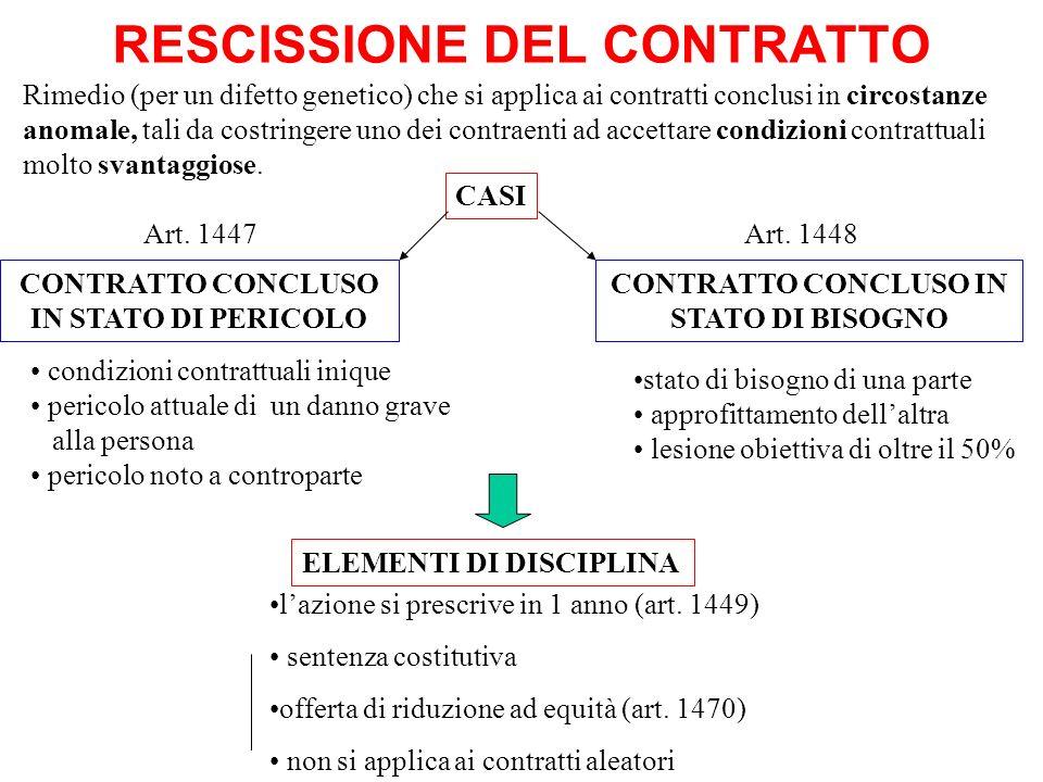 RESCISSIONE DEL CONTRATTO CONTRATTO CONCLUSO IN STATO DI PERICOLO Art. 1447 ELEMENTI DI DISCIPLINA CONTRATTO CONCLUSO IN STATO DI BISOGNO Art. 1448 CA