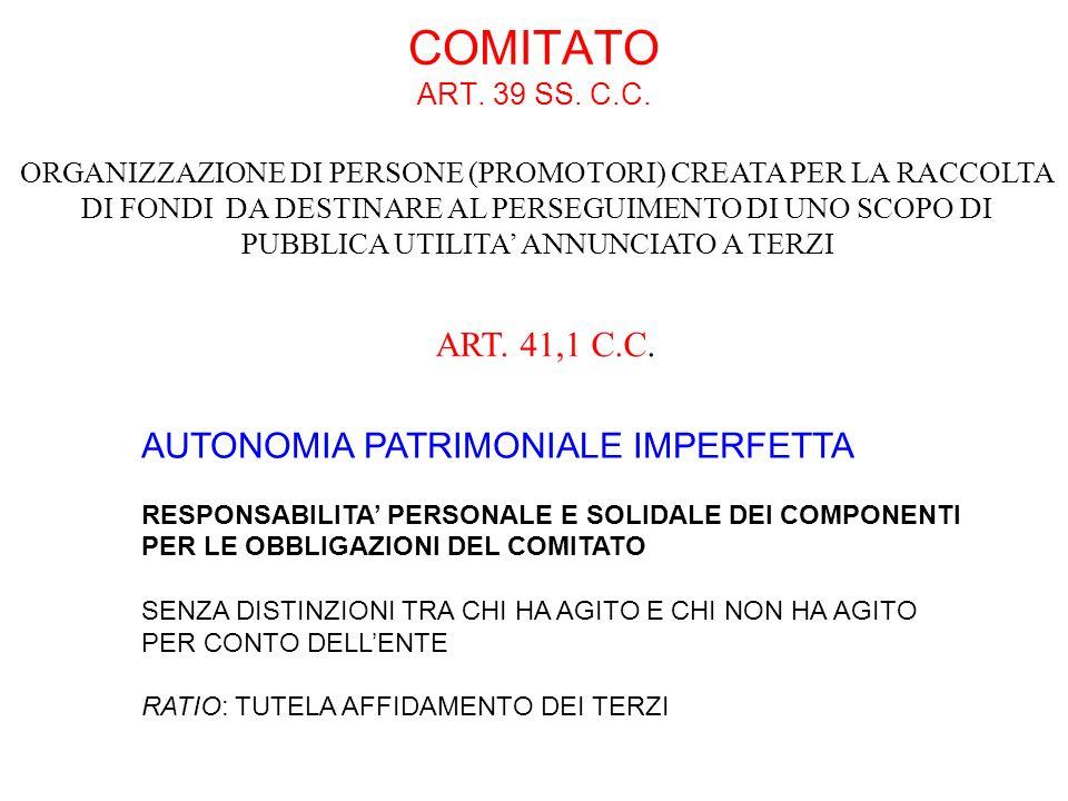 COMITATO ART. 39 SS. C.C. AUTONOMIA PATRIMONIALE IMPERFETTA RESPONSABILITA PERSONALE E SOLIDALE DEI COMPONENTI PER LE OBBLIGAZIONI DEL COMITATO SENZA