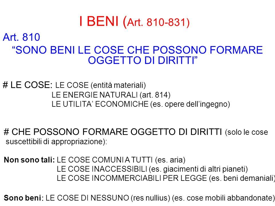 I BENI ( Art. 810-831) Art. 810 SONO BENI LE COSE CHE POSSONO FORMARE OGGETTO DI DIRITTI # LE COSE: LE COSE (entità materiali) LE ENERGIE NATURALI (ar