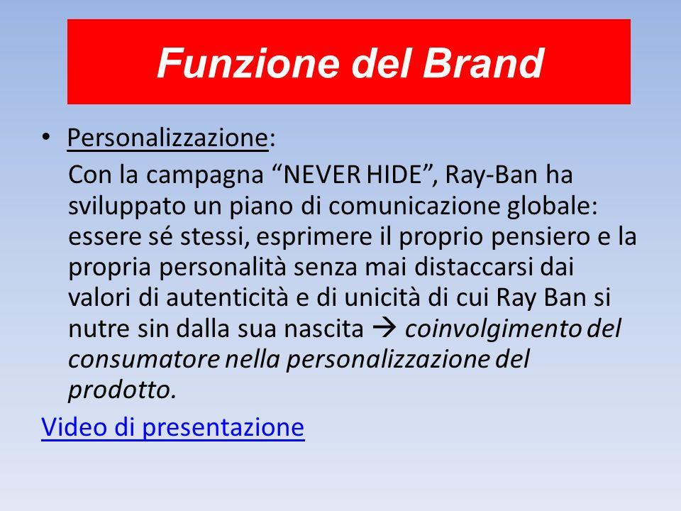 Funzione del Brand Personalizzazione: Con la campagna NEVER HIDE, Ray-Ban ha sviluppato un piano di comunicazione globale: essere sé stessi, esprimere